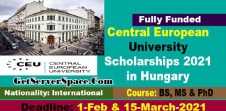 Central European University Scholarships 2021 in Hungary For BS, MS & PhD [Fully Funded]