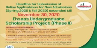 EHSAAS Scholarship Phase II By HEC For Pakistani Undergraduate Students
