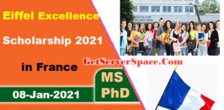 Eiffel Excellence Scholarship 2021 in Paris-France for MS and PhD