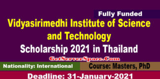 Vidyasirimedhi Institute of Science and Technology (VISTEC) Scholarship 2021 in Thailand