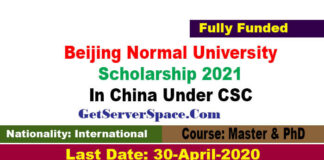 Beijing Normal University Scholarship 2021 In China Under CSC for MS &PhD