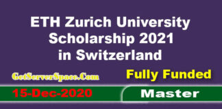 ETH Zurich University Scholarship 2021 in Switzerland For Masters [Fully Funded]
