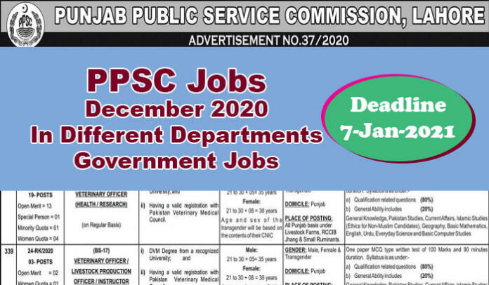 PPSC Latest Jobs December 2020 In Different Departments[Govt-Jobs]