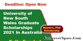 University of New South Wales Graduate Scholarships 2021 In Australia [Fully Funded]