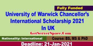 University of Warwick Chancellor's International Scholarship 2021 In UK[Fully Funded]