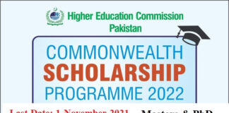 HEC Commonwealth Scholarships 2022 in UK for MS & Ph.D.