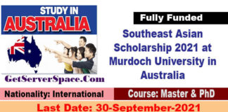 Southeast Asian Scholarship 2021 at Murdoch University in Australia [Fully Funded]