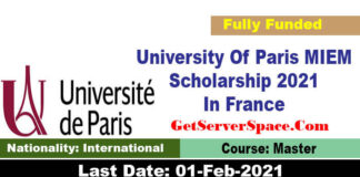University Of Paris MIEM Scholarship 2021 In France [Fully Funded]