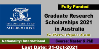 University of Melbourne Research Scholarships 2021 in Australia [Fully Funded]