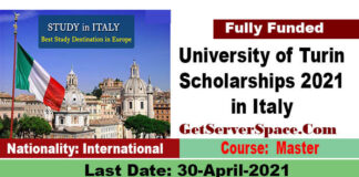 University of Turin Scholarships 2021 in Italy For International Students[Fully Funded]