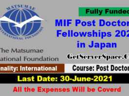 MIF Post Doctoral Fellowships 2021 in Japan [Fully Funded]