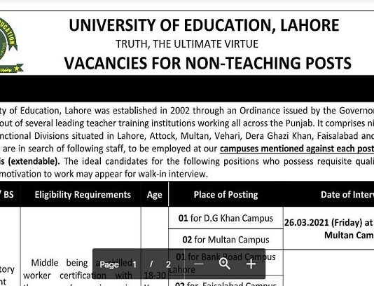Non Teaching Jobs 2021 at University of Education, All Campuses