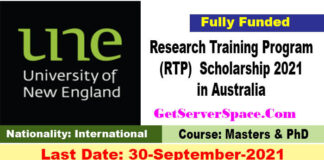 Research Training Program Scholarship 2021 in Australia [Fully Funded]