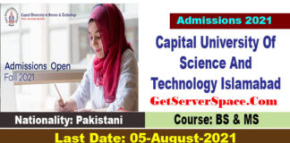 Admissions Fall 2021 Capital University Of Science And Technology Islamabad