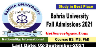 Bahria University Fall Admissions 2021 in All Campuses