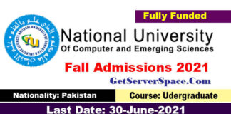 Admissions 2021 National University Of Computer & Emerging Sciences
