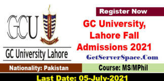 GC University, Lahore Fall Admissions 2021 MS/M.Phil.