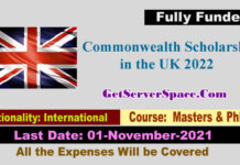 Commonwealth Fully Funded Scholarship in the UK 2022