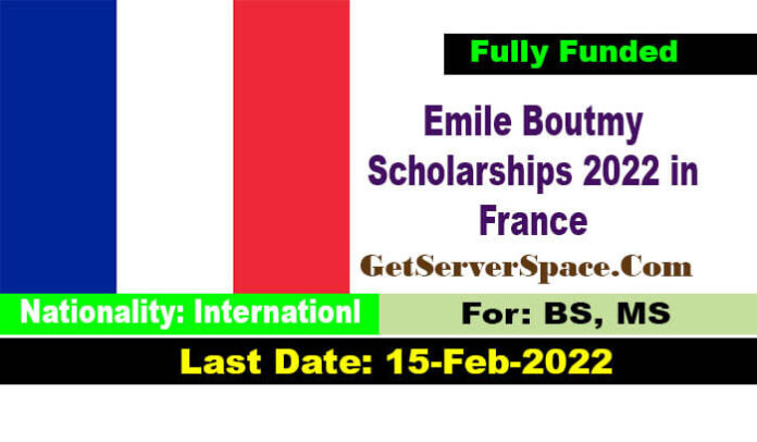 Emile Boutmy Scholarships 2022 in France